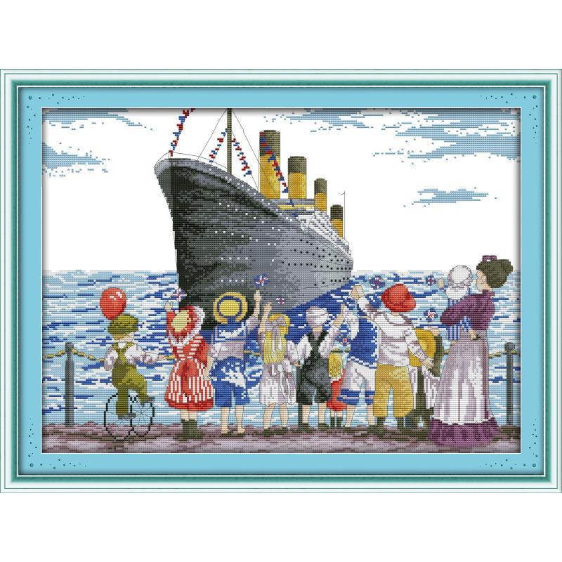 Kit de punto de cruz con estampado de Joy Sunday envío del puerto impreso en lienzo 11 & 14 ct Kit de bordado para decoración de habitación regalo