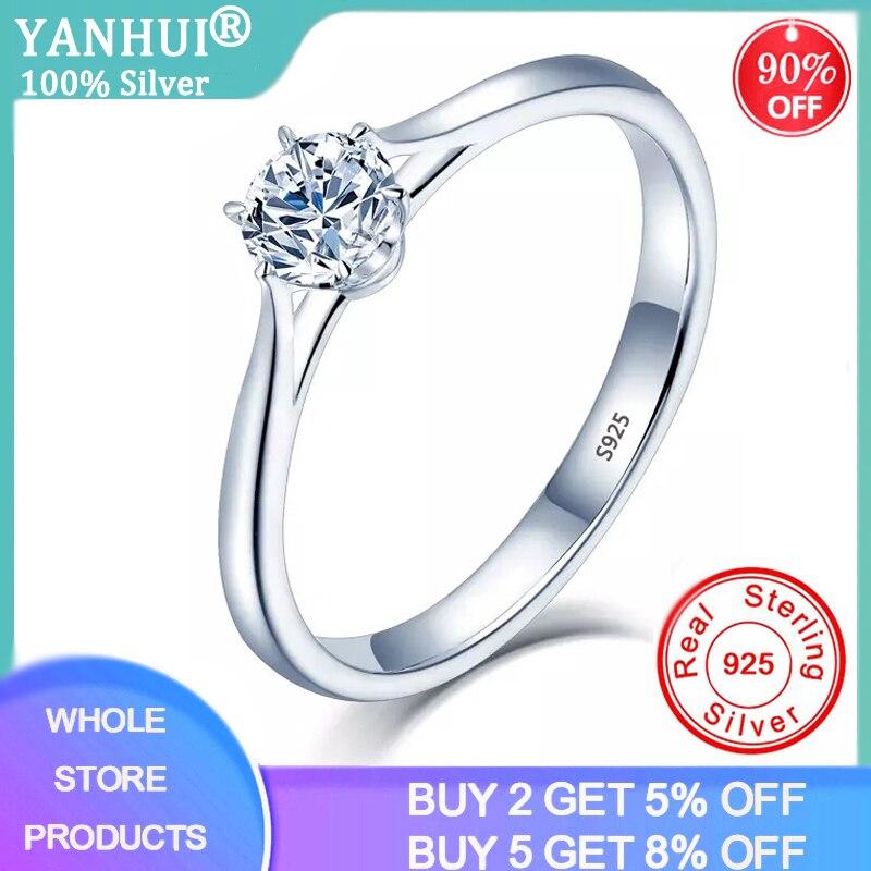 Anillo de diamante de laboratorio YANHUI con certificado Solitaire 1.0ct, joyería de plata 925, anillos de compromiso para bodas para mujeres, anillos de plata 925