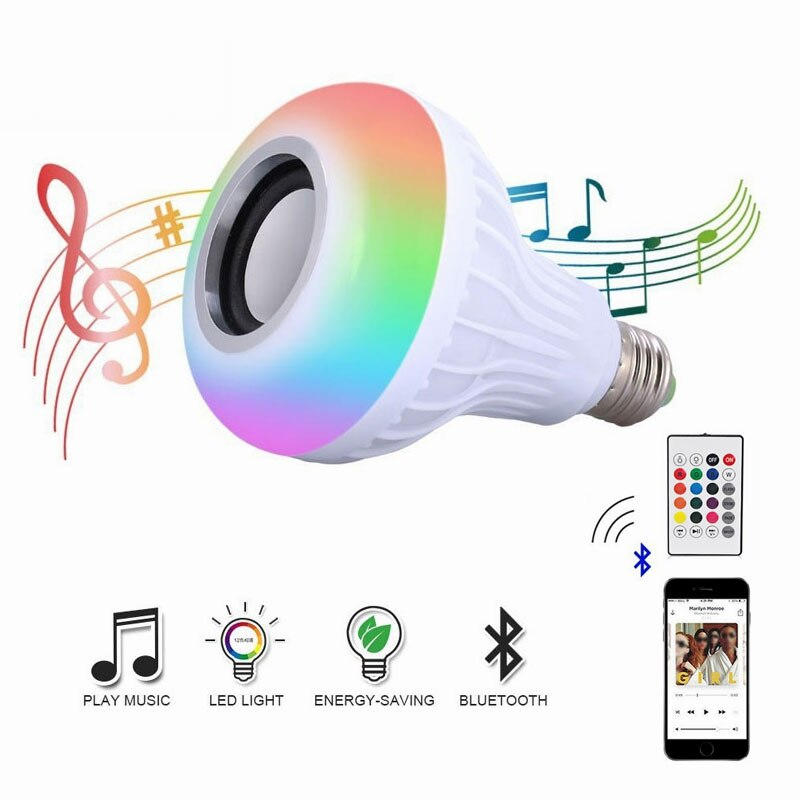 Smart Music Light Bulb Led Colorful Bluetooth Speaker Bulb E27 Wireless Remote Control Bulbs RGB RGBW Bulb Light Music Player