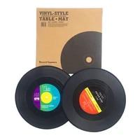 2 pcs cup mat retro vinyl coasters set disk record coaster simulation record table heat insulation non slip tea coffee cup pad