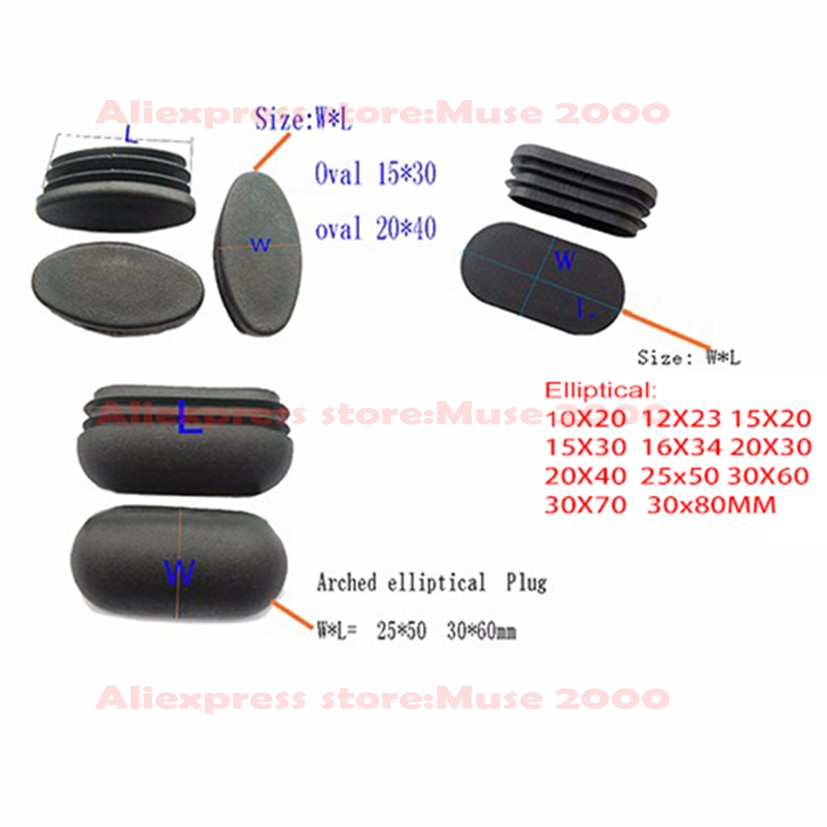 10x20, 12x23, 15x30, 16x34, 20x40, 25x50,30x60, 30x70mm, terminal de tubo ovalada plana elíptica, Conector de extremo de inserción del tubo arqueado, cojín de tarifa para silla