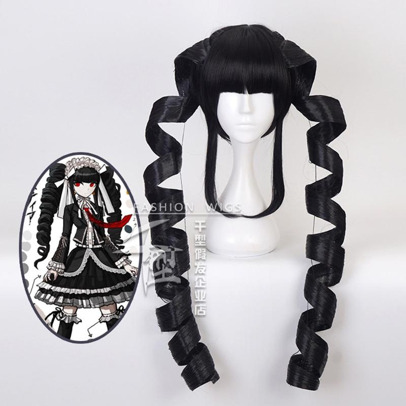 Danganronpa Celestia Ludenberg Black Long Curly Ponytails Wig Cosplay Costume Dangan Ronpa Yasuhiro Taeko Synthetic Hair Wigs