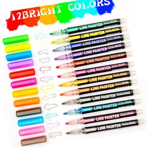 Glitter Lettering Markers 8/12 Pcs/set Outline Art Marker Pen Double Line Colored Markers for Sketching/Cards/Craft/Posters
