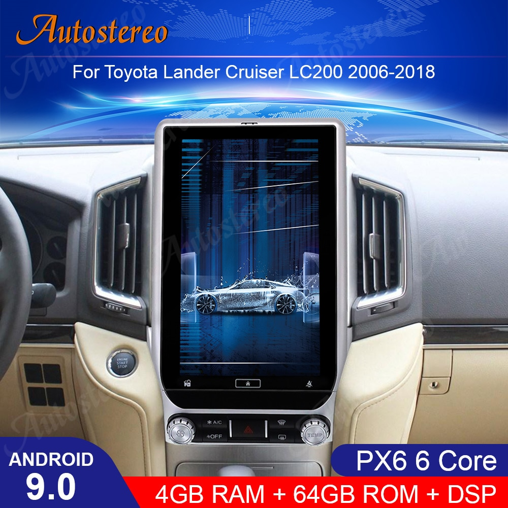 """13,6 """"Android 9,0 DSP navegación de GPS para coche para TOYOTA LAND CRUISER LC200 2016-2019 reproductor Multimedia radio grabadora Unidad Principal"""