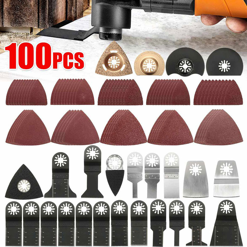 100PCS/Set Oscillating Multitool Saw Blades Accessories Kit Quick Release Home Oscillating Universal  Replacement Blades