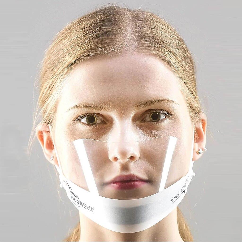 2020 máscara transparente unisex restaurante máscara facial máscara de boca reutilizável hotel máscara de plástico cozinheiros máscara para rosto