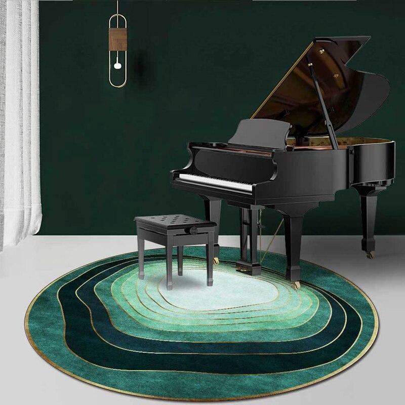 Moderno minimalista verde ronda alfombras círculo abstracto rayas alfombras habitación sala de Piano silla antideslizante ronda piso Mat