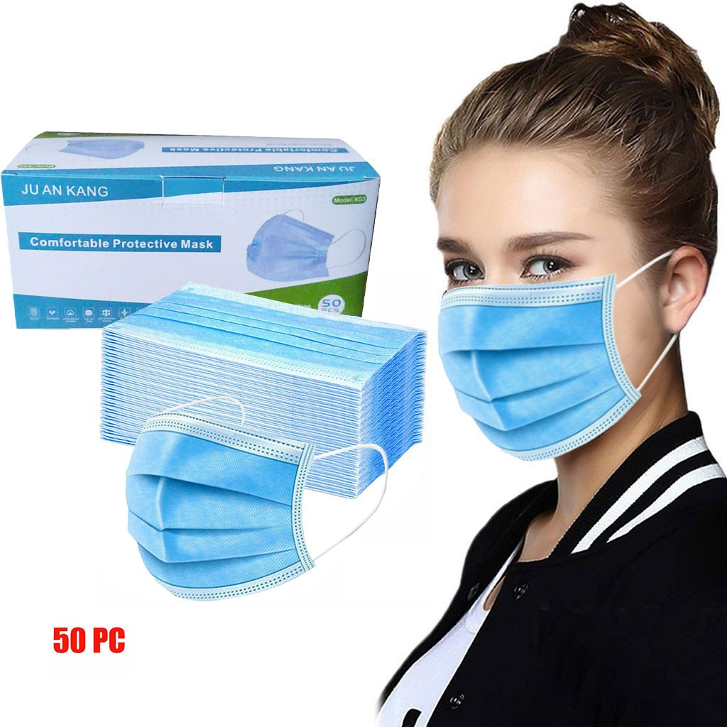 50pc Blue Good Quality Disposable 3-ply Breathable Face Ma Sk Lips Care Ear Loops Disposable Msk Tre
