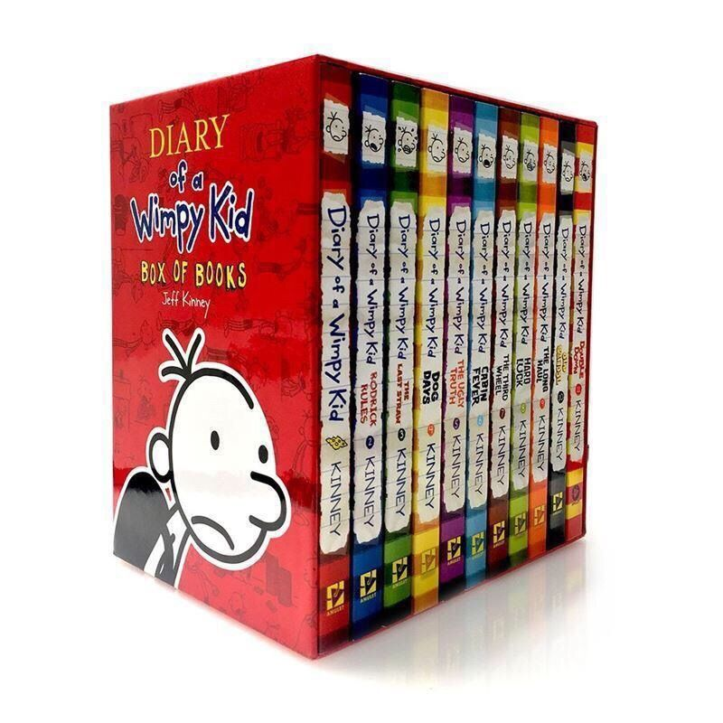 16PCS/Set English Picture Book Diary of a Wimpy kid Comic Bridge Novel Children Daily Reading Book Box Packing Children Age 6-12