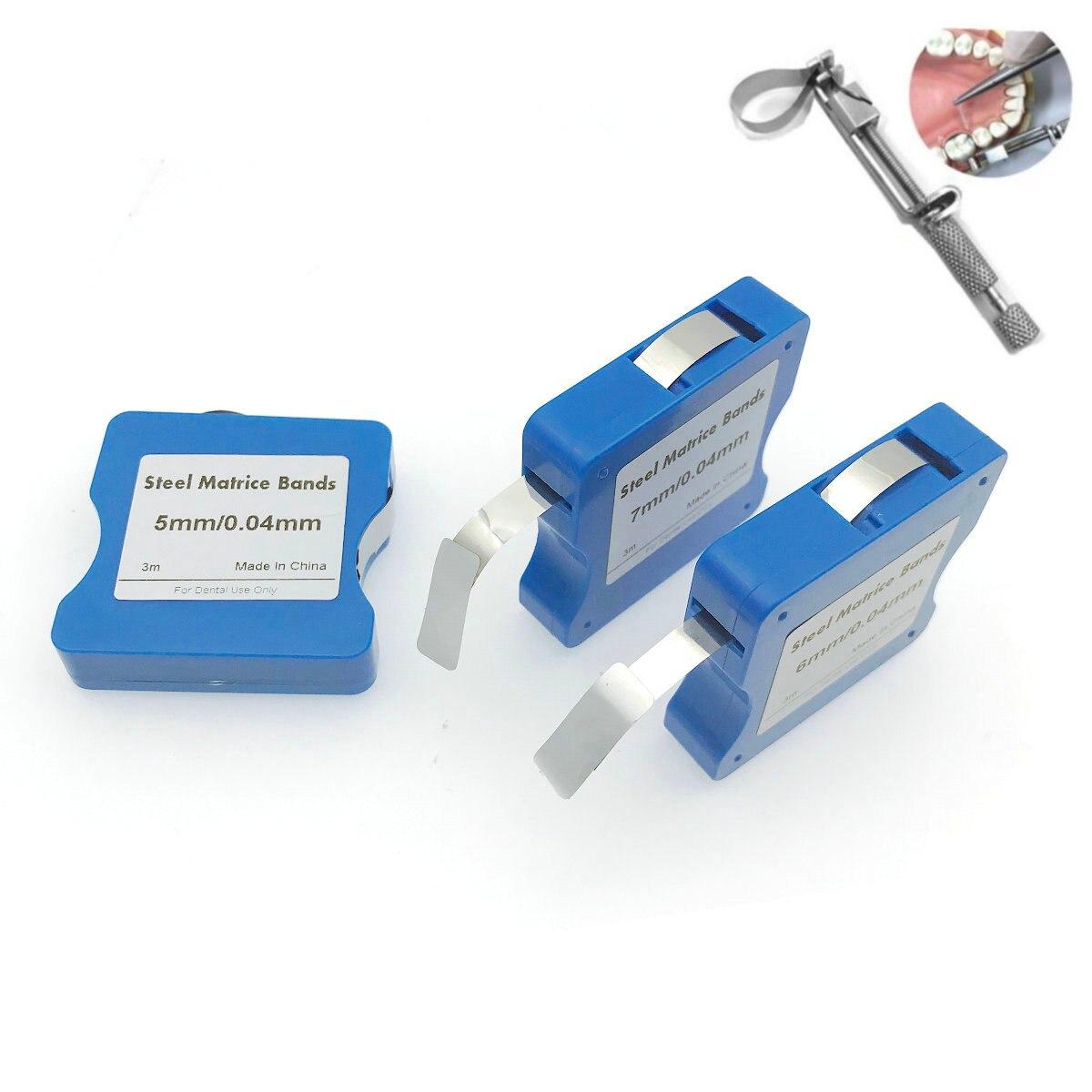 Dental Stainless Steel/Resin Film Restoration Light Cured Resin Clear Matrix Bands 5mm/6mm/7mm Width 0.025mm Matrix Strips