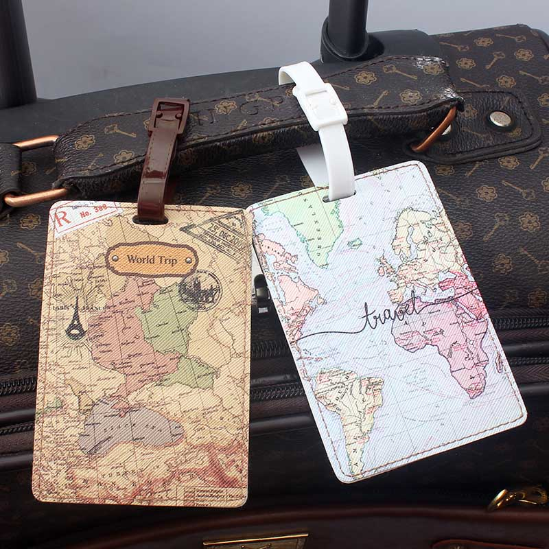 Etiqueta de equipaje de alta calidad con diseño de mapa del mundo, accesorio de viaje creativo de PU, soporte de identificación de maleta, etiqueta de equipaje portátil