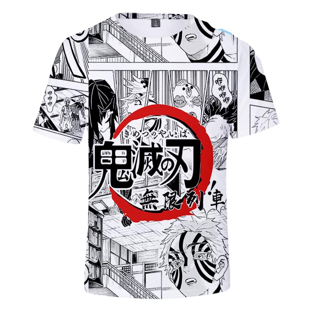 Camiseta meninos/meninas verão moda casual anime demônio slayer camiseta de grandes dimensões personalidade kimetsu não yaiba mugen ressha-hen 3d