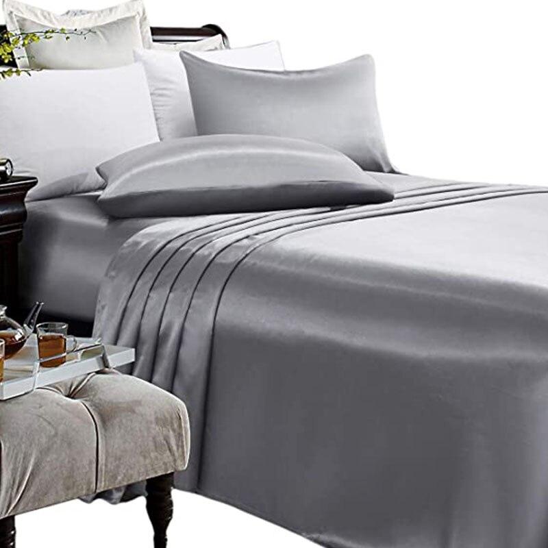Fundas de almohada de lujo de seda de raso para verano de 3/4 Uds., sábanas de cama de tamaño completo con banda elástica, fundas de colchón, textiles para el hogar