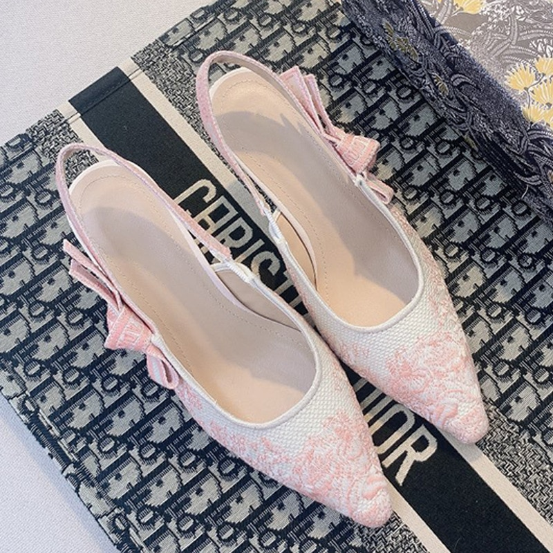 Fashion Embroidery Flower Women Sandals Korean Style Bowknot Lady Pumps Pointed Toe Sandalias Woman Shoes Mother's Day Gift