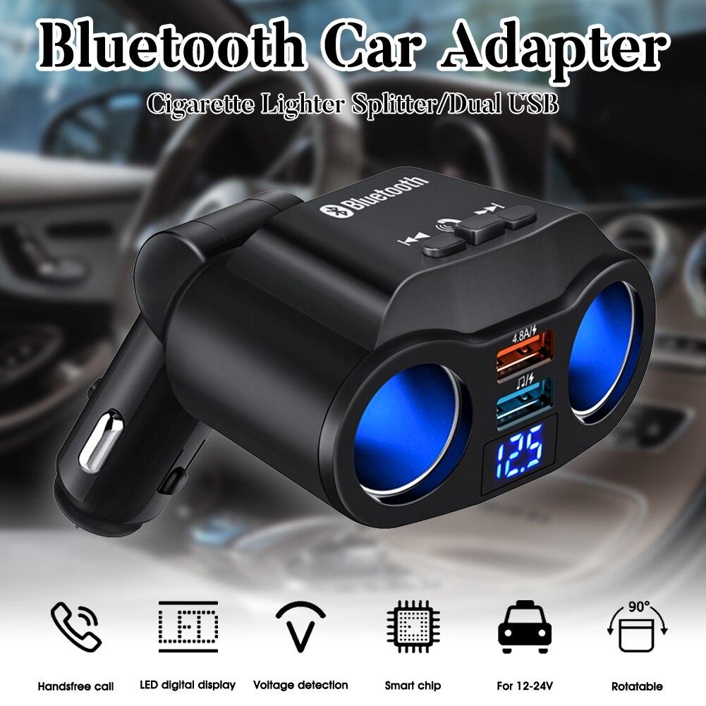 SALE Cigarette Lighter Splitter 90W 12V/24V Bluetooth USB Car Charger 2 Sockets USB with LED Voltage Display Car Accessories