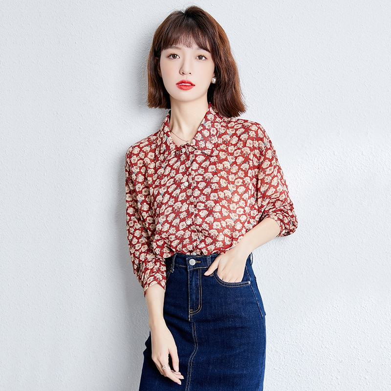 2021 Fashion Vintage Floral Women's Shirt All-Match Office Lady Long Sleeve Elegant Loos Blouse Female Spring Summer New Arrival