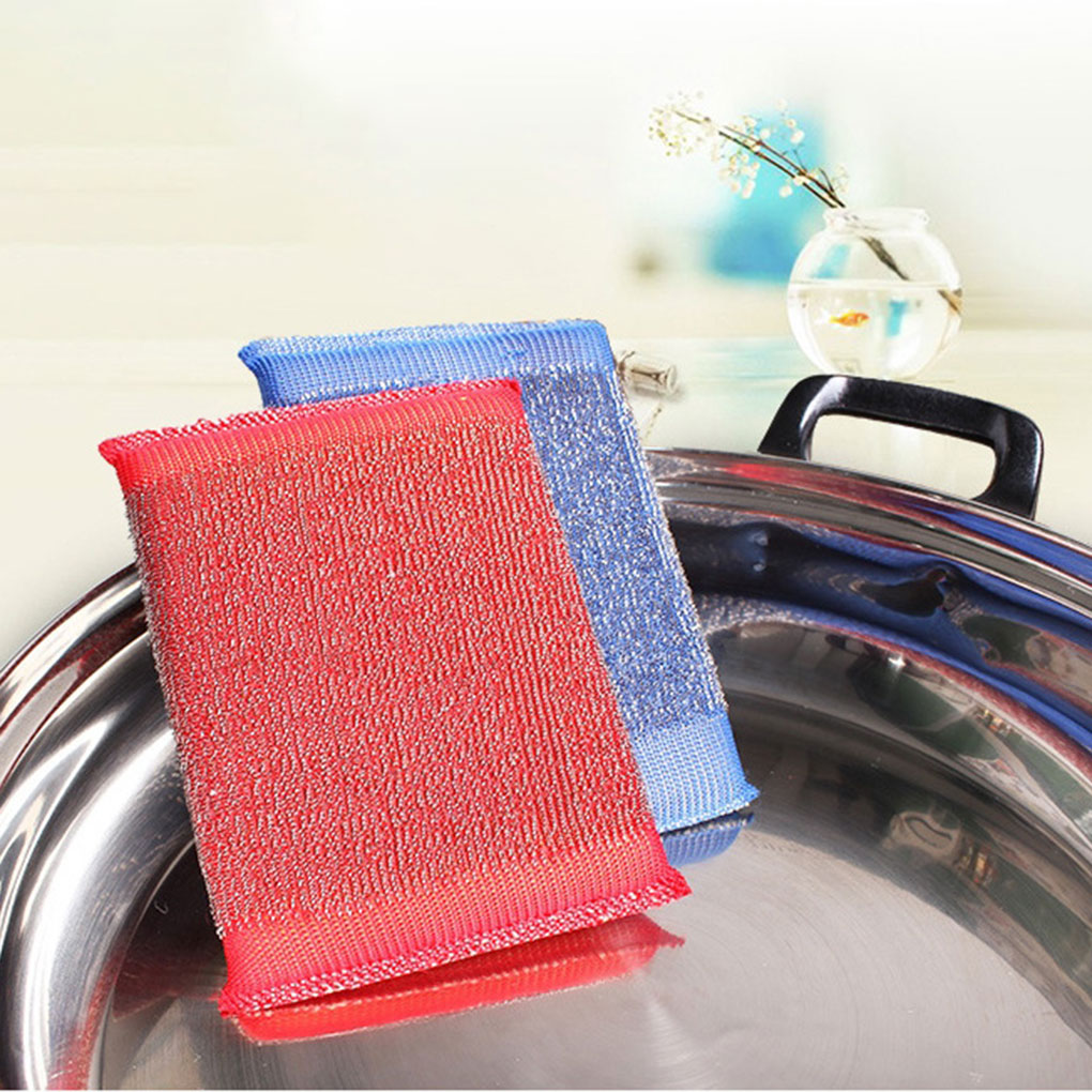 3Pcs Stainless Steel Sponge Rectangle Cleaner Scrubber Pads Pot Bowl Dish Cloth Cleaning Tool Color