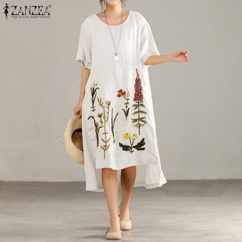 ZANZEA verano Casual bordado Sundress mujeres elegante manga corta rodilla longitud Vestido alto bajo Vestido de algodón vestidos de lino 5XL