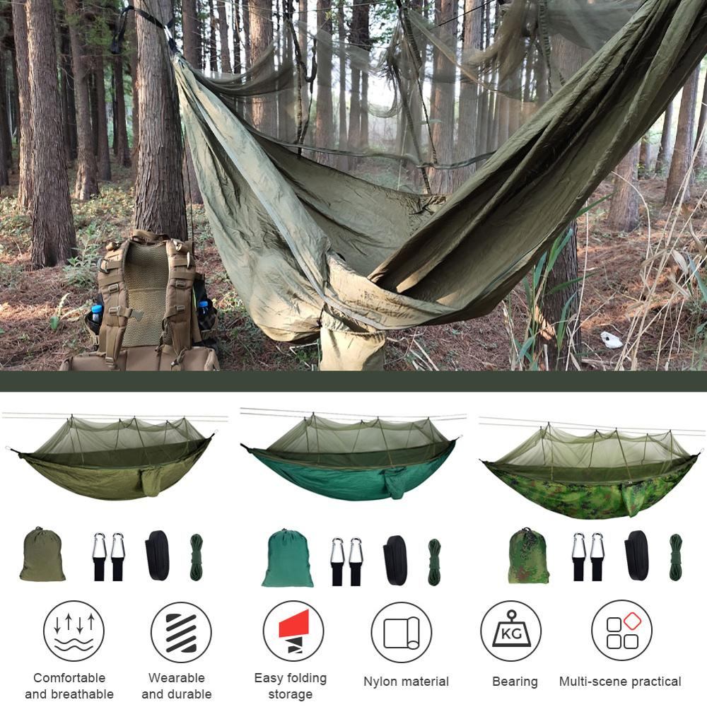 Портативный гамак, подвесная кровать из парашютной ткани, с москитной сеткой, на 1-2 человек
