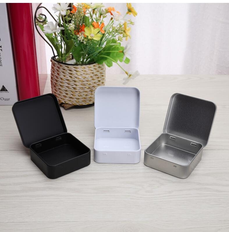 100 قطعة علب معدنية صغيرة حاوية مربع متمحور الوجه صندوق تخزين صفيح علبة أدوات صغيرة مجوهرات عملة الحلوى الواقي الذكري المنظم المحمولة
