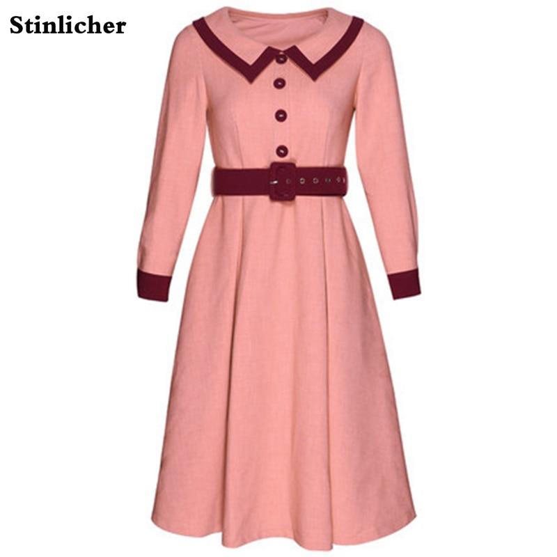 Vintage women dress autumn winter doll collar button tunic dress French style elegant office ladies OL midi dress