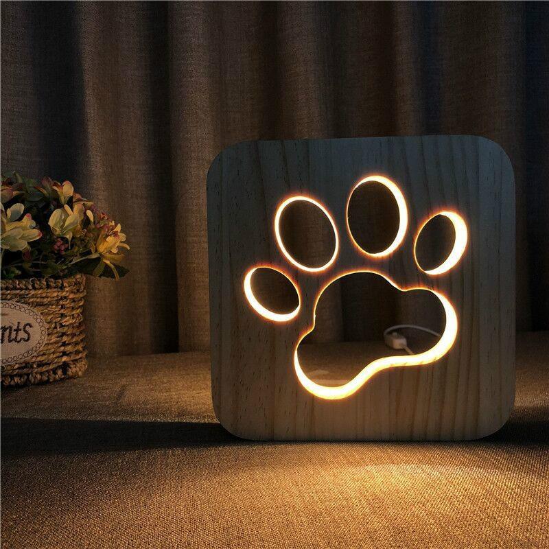 Wooden Creative Night Light Dog Paw Cat Animal 3D Light LED Novelty Decorative Table Lamp USB Holiday Children Christmas Gift enlarge