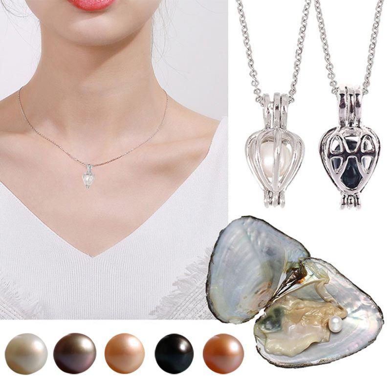1 Juego de colgante con abalorio de perlas de ostra Natural, caja de regalo, regalo de joyería Popular de moda para mujer