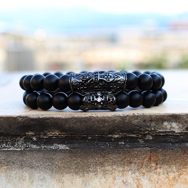 Conjunto de pulseras con cuentas de piedra Natural para hombre y mujer,...