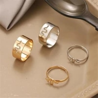 trendy gold silver color snake rings for women men lover couple rings 2 pieces set friendship engagement wedding open jewelry