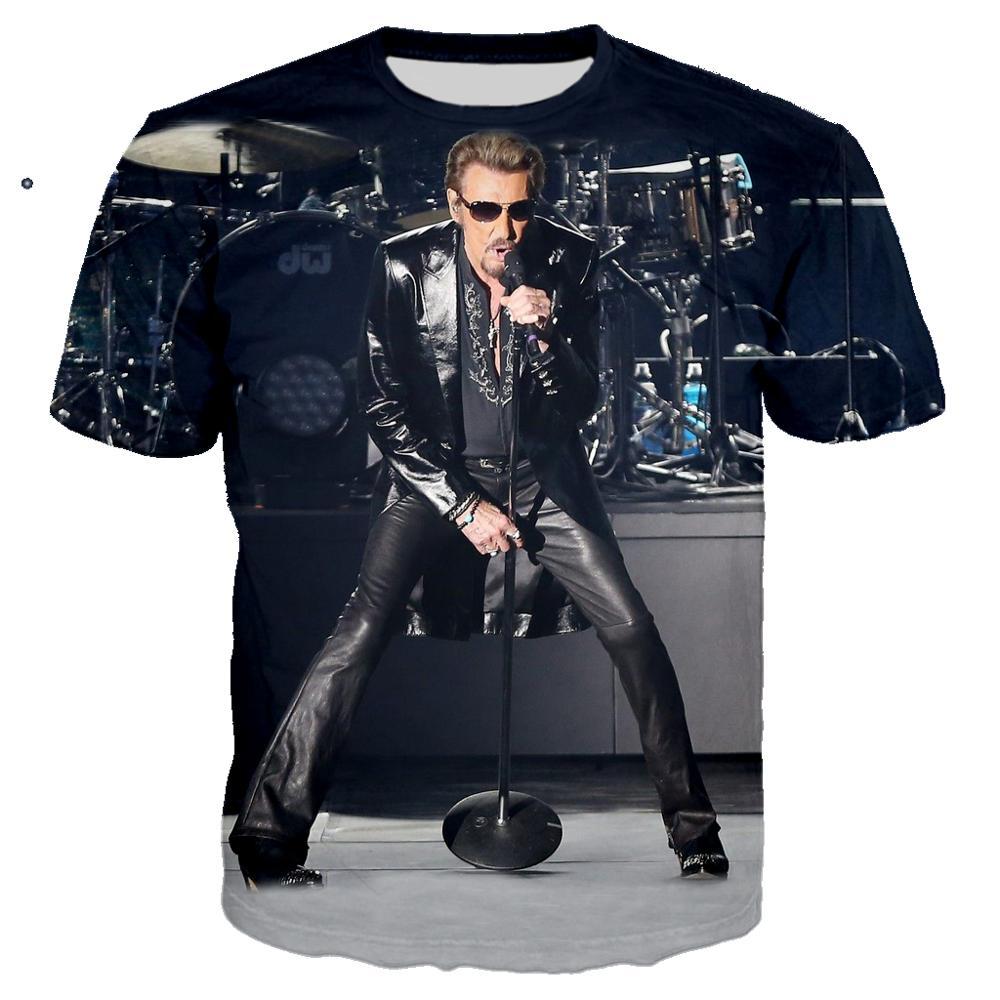 Pop cantor johnny hallyday t camisa 3d impressão rock tshirt unisex casual streetwear hip hop roupas harajuku topos masculino