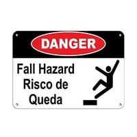 danger fall hazard risco de queda fall hazard tin sign art wall decorationvintage aluminum retro metal sign