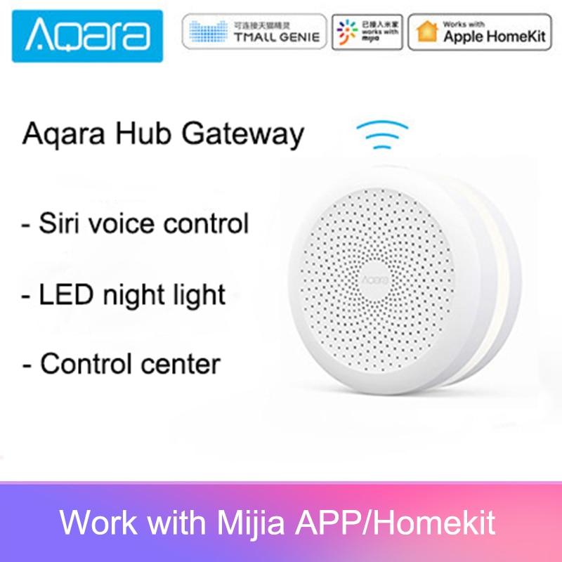 Puerta de enlace Original Mijia Centro aqara con luz Led de noche trabajo inteligente para Apple Homekit International Edition Gateway