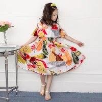 bohemian summer girl dresses classic floral child short sleeve ruffle sundress 2021 new kids beach clothes