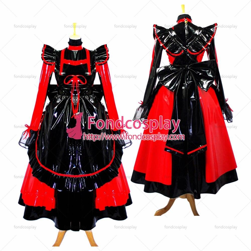فوندكوسبلاي الكبار مثير الصليب خلع الملابس سيسي خادمة طويلة أسود أحمر رقيقة بك فستان قابل للقفل موحدة زي مخصص-صنع [G634]