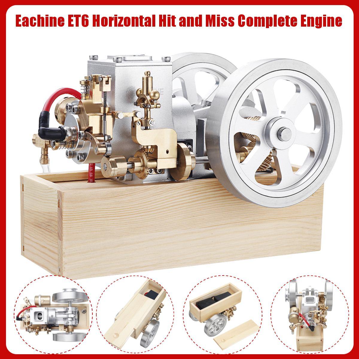 ET6 Horizontal Hit and Miss Complete Engine Model STEM Upgrade Gas Engine Mini Turbine Motor Internal Combustion Model Kids Toys