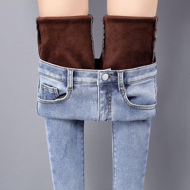 Inverno quente calças de brim para a mulher inverno cintura alta em linha reta mais tamanho lã densamente jeans feminino calças de brim femininas