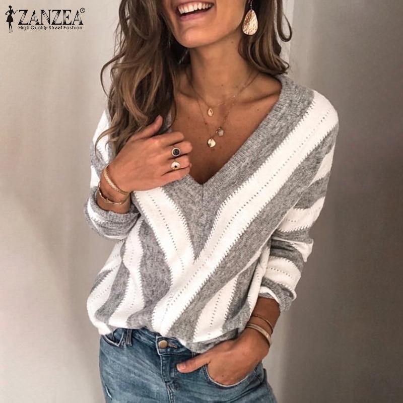 Jersey de manga larga de otoño ZANZEA a la moda Jersey de punto a rayas blusa de mujer Sexy cuello en V suéter fino Mujer prendas de punto