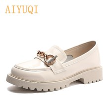 Women's Loafers Spring 2021 Rhinestone Genuine Leather British Style Shoes Girl Round Toe Thick Heel