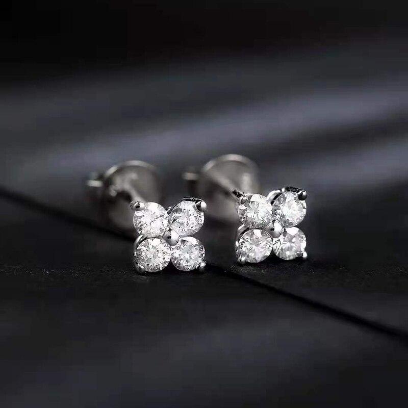 100% 18K الذهب الأبيض الحقيقي جولة الماس الجنية أربعة زهرة قرط الاذن المرصع للمرأة الزفاف المشاركة هدية Au750