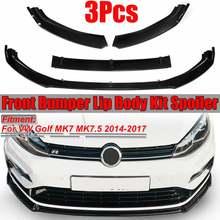 New Carbon Fiber Look/Black Car Front Bumper Splitter Lip Spoiler Diffuser Protector Guard For VW For Golf MK7 MK7.5 2014-2017