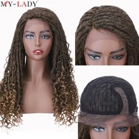 my lady 25inch dreadlock wig synthetic goddess faux locs crochet hair lace wigs crochet braids lace frontal wig with curly ends