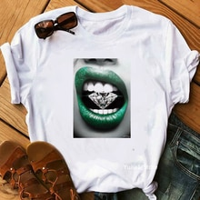 Camiseta t-shirts femme T-shirt koszulki damskie Harajuku T-shirt sexy diamant lèvre hauts T-shirt femme été T-shirt Feminina