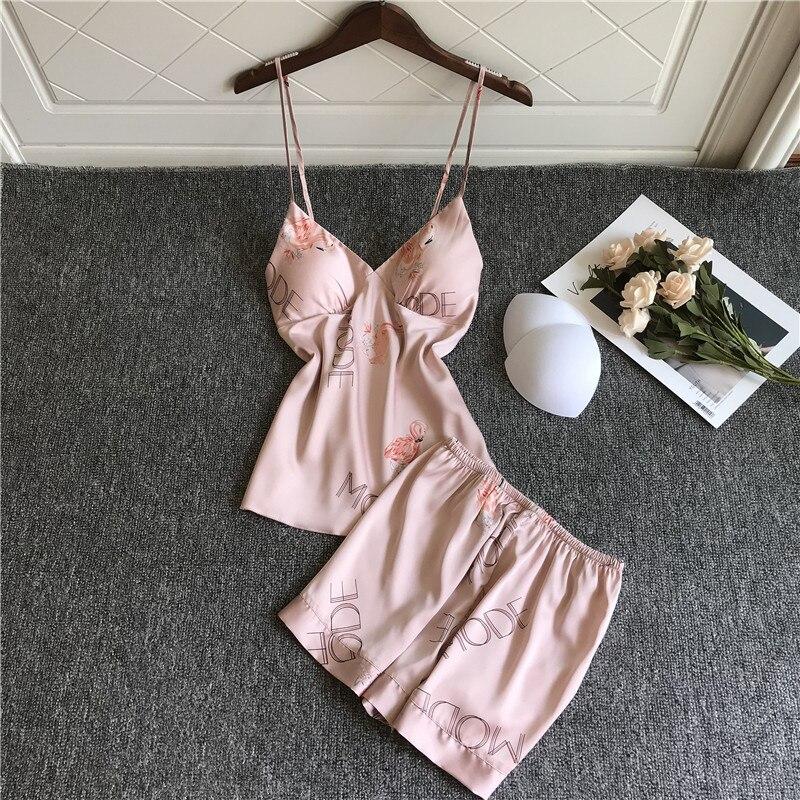 QWEEK pijamas de flamenco, Pijama de satén para Mujer, ropa de salón, camisón para dormir, conjunto de pijamas Sexy para Mujer, ropa de dormir
