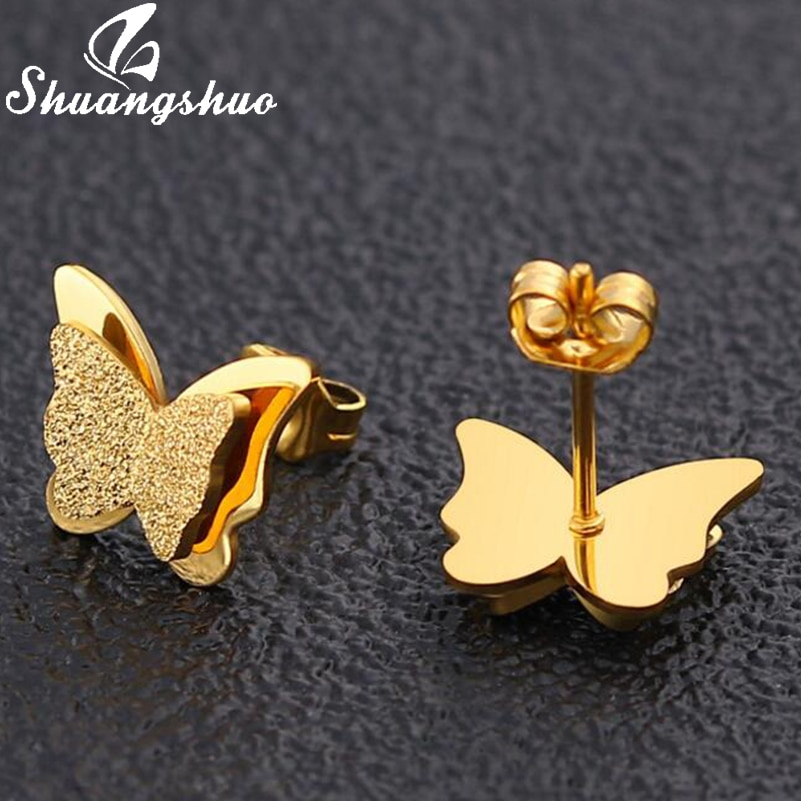 Shuangshuo pendientes de mariposa de Color frío para mujeres lindos pendientes de mariposa de acero inoxidable