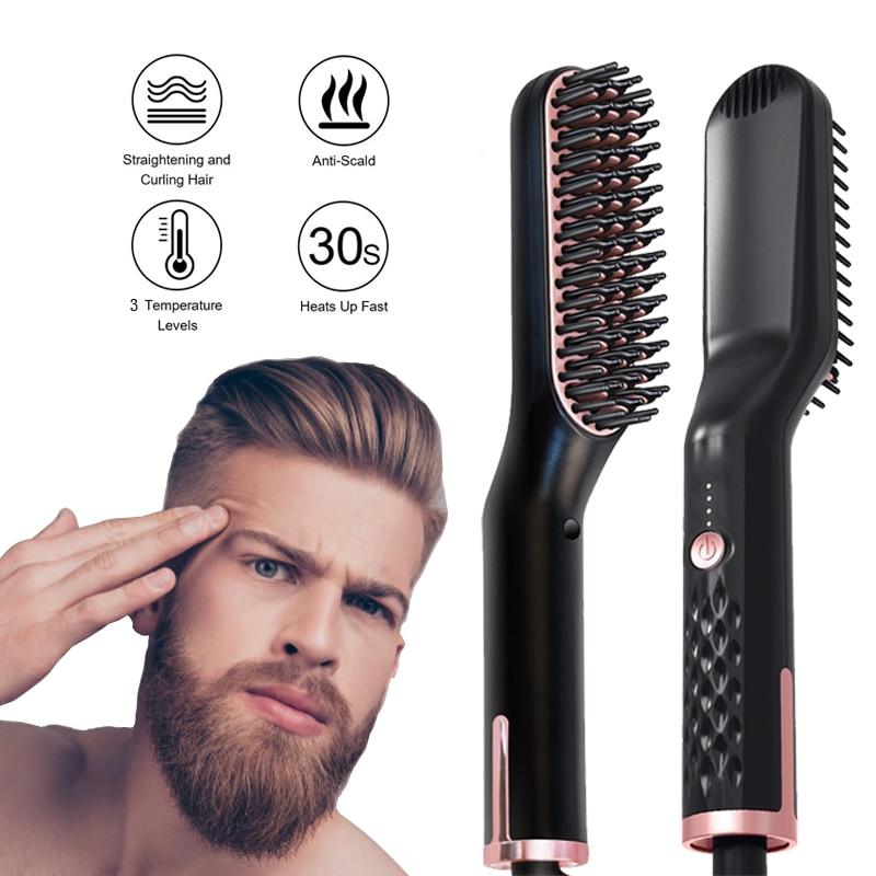 Beard Straightener Hair Brush Straightener Ceramic Flat Iron Straightening Comb Smoothing Iron Brush