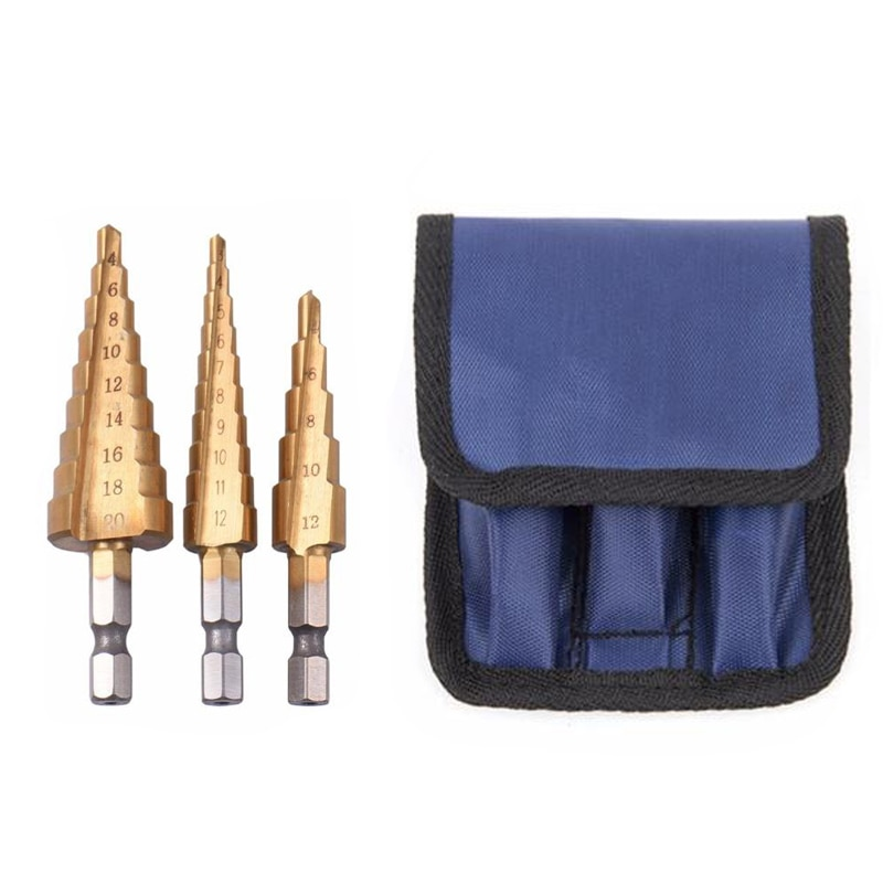 3бр HSS стоманени титанови свредла 3-12мм 4-12мм 4-20мм, режещи инструменти с форма на стъпало, комплект за пробиване на дърво и метал