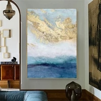 hand painted oil painting home decoration painting gold leaf art painting blue nordic style vertical wall canvas painting home