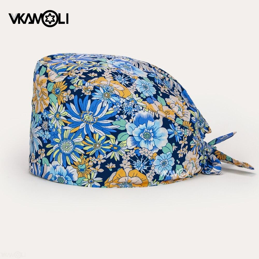 Surgeons Surgery Hat Pattern Printing Cotton Cap with Sweatband Men Women Pet Dentist Beauty Work Hats scrubs Hats