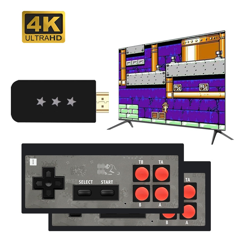 USB Wireless Handheld TV Video Game Console Build In 568 Classic 8 Bit Game mini Console Dual Gamepad HDMI-Compatible Output