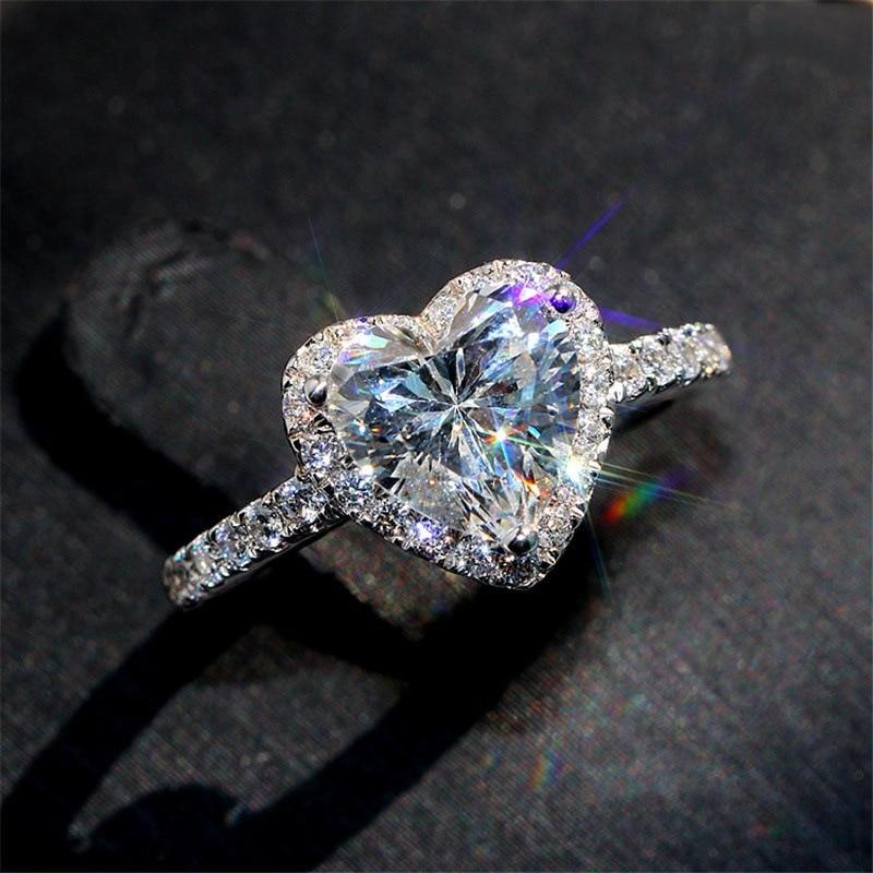 swarovski aila day heart 5242514 1Pcs European and American Fashion Creative Love Heart Zircon Ring Valentine Day Gift Couple Heart Ring